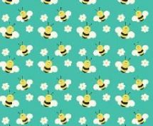 Fabric Freedom Camping - 4253 - Bumblebees on Aqua - FF93-3 - Cotton Fabric